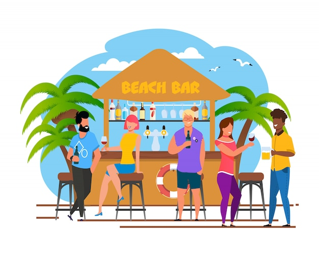 Tourists group having rest at beach bar cartoon