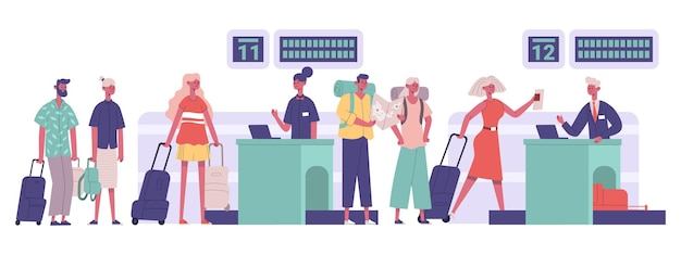 Tourists group, passengers travellers luggage checking in airport. people walking airport security detection vector illustration. travel airport concept