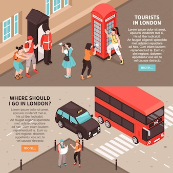 Tourists in london horizontal banners with information about sightseeing tours and  landmarks isometric