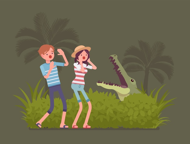 Tourists lost in wild nature