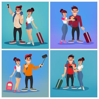Tourists making selfie. travel banner