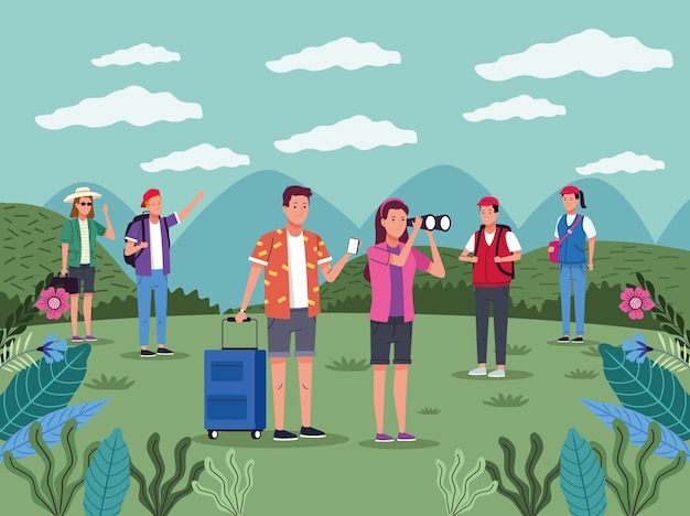 Tourists people group on the landscape characters vector illustration design