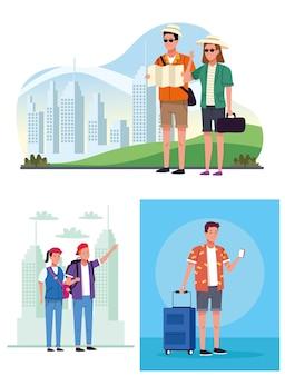 Papermap 및 가방 장면 문자가있는 관광객 사람들 그룹