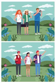 Tourists people standing on the landscape character vector illustration design