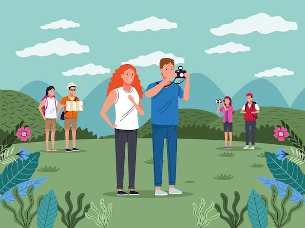 Tourists people with camera photographic on the landscape characters vector illustration design