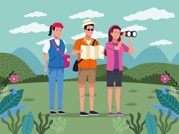 풍경 문자에 종이지도와 쌍안경을 가진 관광객 사람들
