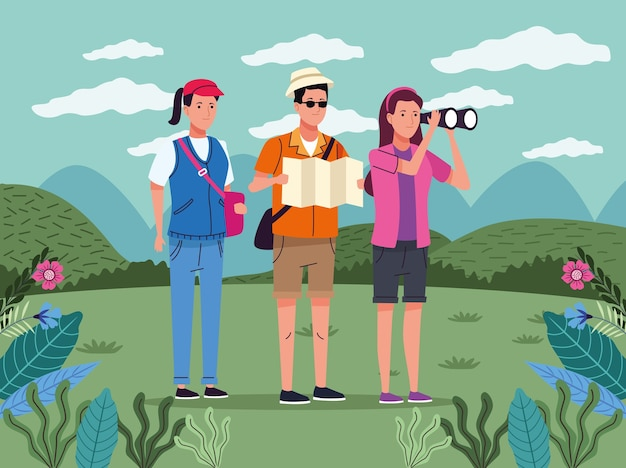 Tourists people with papermap and binoculars on the landscape characters vector illustration design