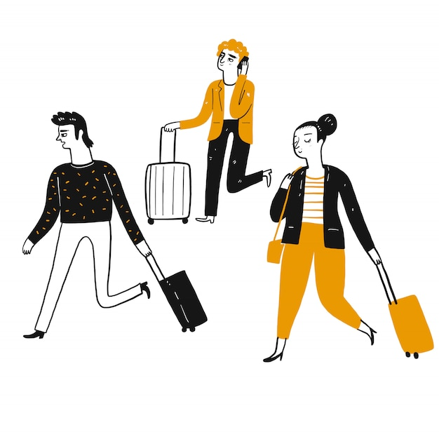 Tourists pulling suitcases