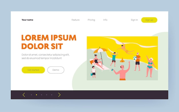 Tourists relaxing on beach. people swimming in sea, playing ball, drinking cocktail flat vector illustration. vacation, summer, outdoor activity concept for banner, website design or landing web page