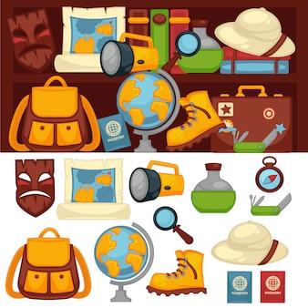 Туристы набор необходимых вещей и одежды для путешествий.