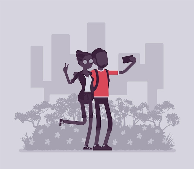 Tourists taking selfie. young happy pair travelling, visiting places for pleasure, making photograph with smartphone to share in social media, self-portrait. vector illustration, faceless characters