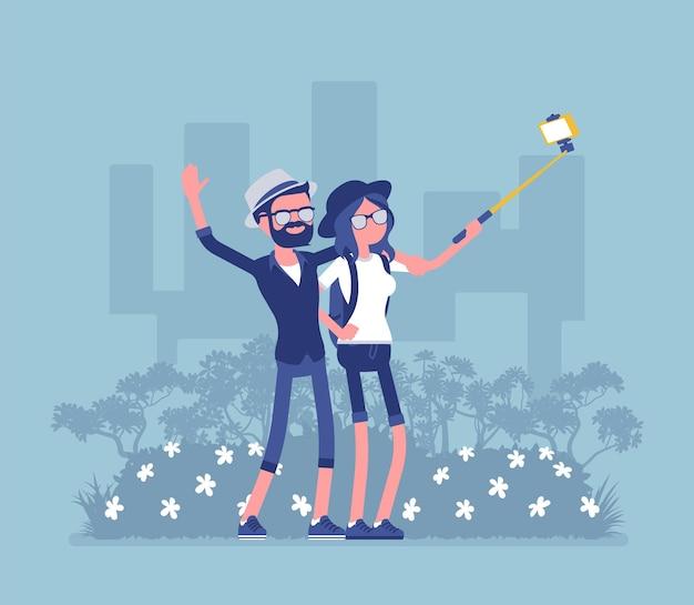 Tourists taking selfie
