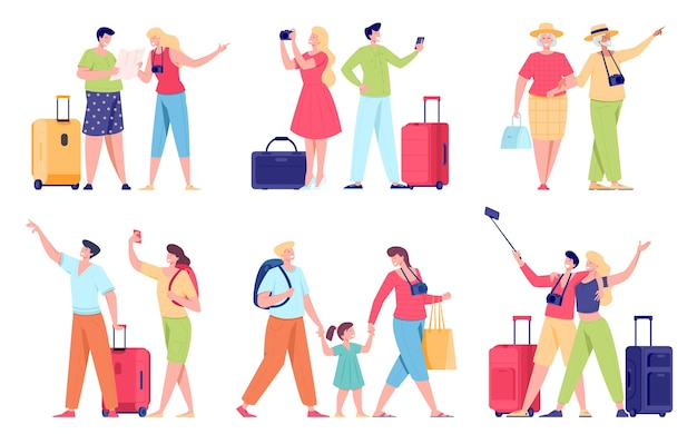 Tourists on vacation flat illustrations set