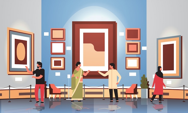 Tourists viewers in modern art gallery museum interior looking creative contemporary paintings artworks or exhibits flat vector illustration