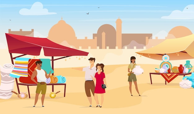 Туристы, посещающие египетский базар плоский цветной иллюстрации. арабский уличный рынок. путешественники покупают ковры и керамику ручной работы безликих героев мультфильмов с мечетью на заднем плане