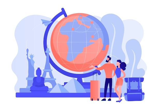 유럽, 아메리카, 아시아를 방문하는 관광객. 가족 휴가를위한 관광 투어