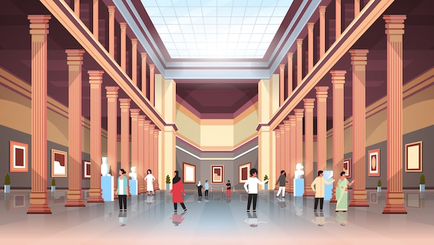 Tourists visitors in classic historic museum art gallery hall with columns and glass ceiling interior looking ancient exhibits and sculptures collection flat horizontal