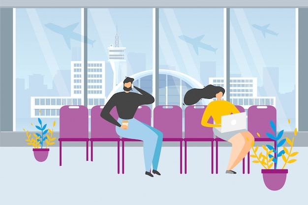 Tourists waiting flight in airport vector concept