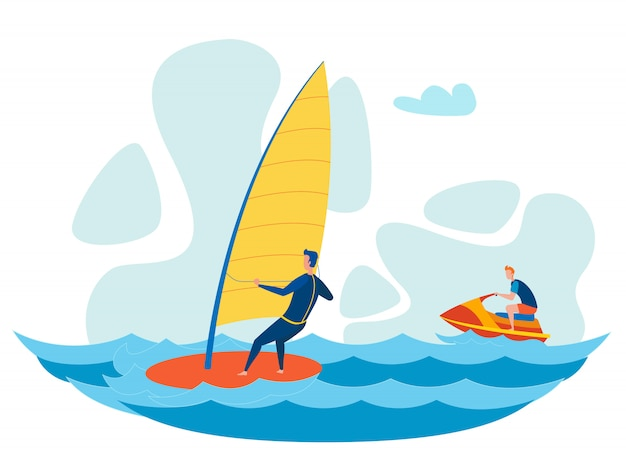 Tourists water activities flat vector illustration