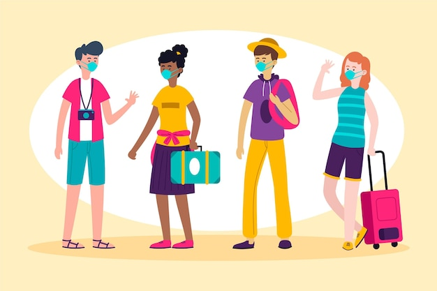 Tourists wearing face masks illustration