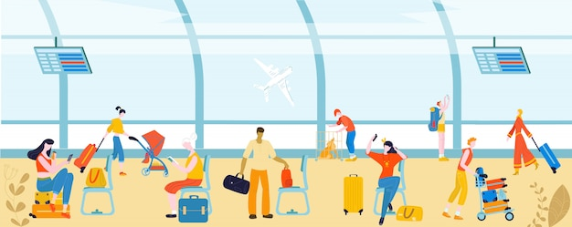 Tourists with baggage in airport people, traveling passengers, luggage at departure   illustration.