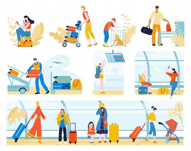 Туристы с багажом в аэропорту людей, путешествующих пассажиров, ожидающих регистрации или вылета набор плоской иллюстрации, изолированные на белом.