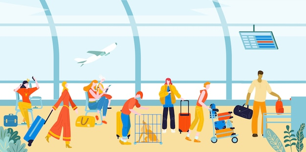 Tourists with baggage suitcases in airport, travellers people at terminal in airports lounge flat   illustration.