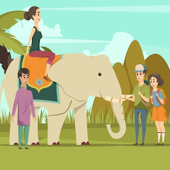 Tourists with indian elephant