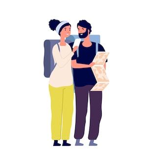 지도와 관광객입니다. 행복한 여행자는 도로 또는 여행 여행을 찾습니다. 배낭을 메고 있는 평평한 남자 여자, 함께 벡터 삽화를 하이킹하는 커플. 여행자 탐색 여행, 도로에 탐색 지도가 있는 관광객