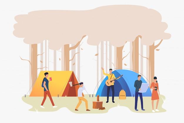 キャンプ場の図でテントを持つ観光客