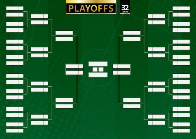 Турнирная сетка для 32 команд на зеленом футбольном фоне