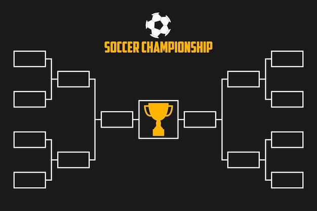 Турнирная сетка. схема чемпионата по футболу с кубком трофея. футбольный спорт векторные иллюстрации.