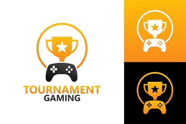 Tournament gaming logo template premium vector