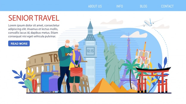 Tours for traveling senior people vector webpage