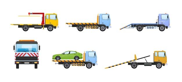 견인 트럭 자동차 세트입니다. 견인 운송을 위한 화물 자동차, 트럭 운송 차량, 도로에서의 견인 도움. 견인 자동 서비스. 호감, 수리 문제, 긴급 대피 측면보기 만화 벡터 지원