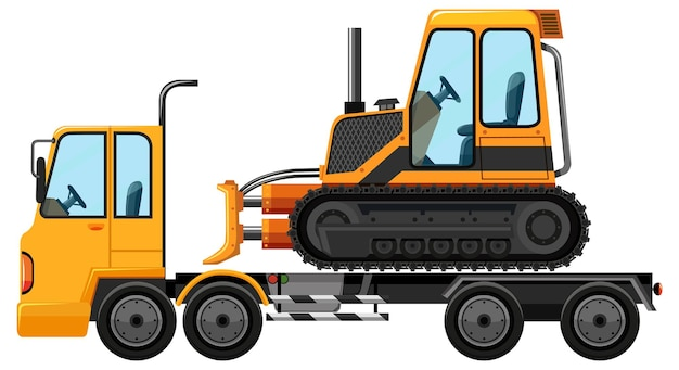 Tow truck carrying bulldozer isolated background