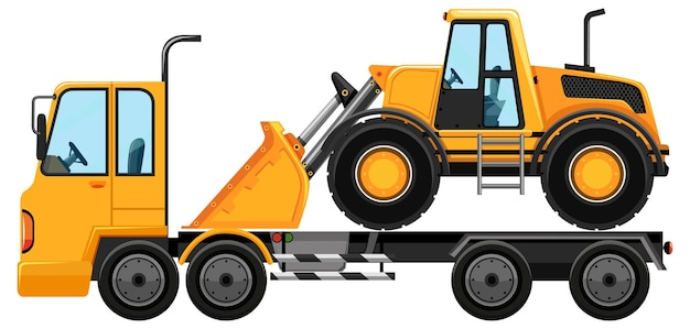 Tow truck carrying bulldozer on white