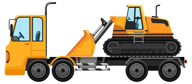 Tow truck carrying front loader isolated background