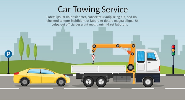 Tow truck city road assistance service evacuator of online car help flat design   illustration set