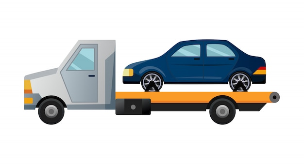 Эвакуатор. прохладный плоский эвакуатор с разбитой машиной. дорожная машина для оказания помощи в ремонте автомобиля с поврежденной или спасенной машиной