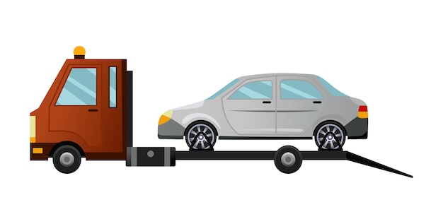 Tow truck. cool flat towing truck with broken car. road car repair service assistance vehicle with damaged or salvaged car.