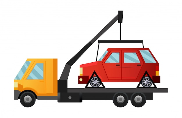 Tow truck. cool flat towing truck with broken car. road car repair service assistance vehicle with damaged