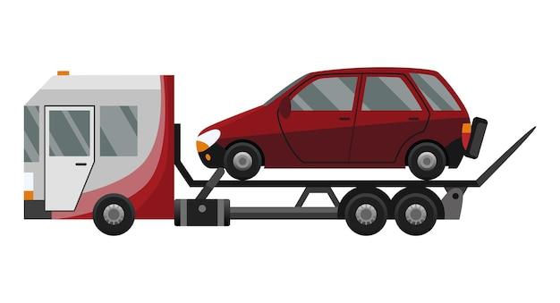 견인차. 견인 트럭에 실린 평평한 결함 자동차. 도움을 제공하는 차량 수리 서비스