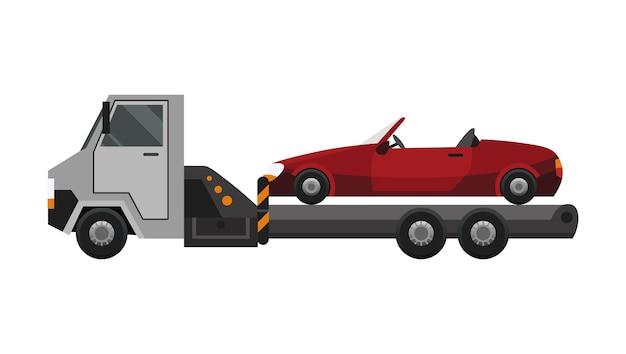 견인차. 견인 트럭에 적재 된 편평한 결함이있는 차. 차량 수리 서비스