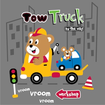 Tow truck and funny animal cartoon