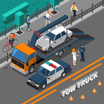 Tow truck isometric composition
