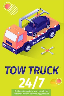 Tow truck service for evacuation offering poster