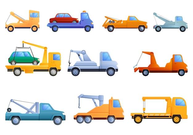 Tow truck set, cartoon style
