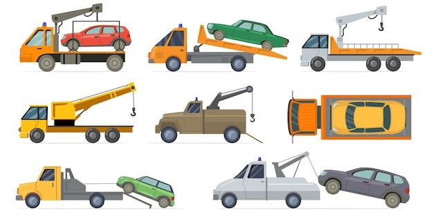 Tow truck set. heavy carrier with crane towing broken cars isolated on white background. flat illustration