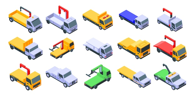 Tow truck set, isometric style